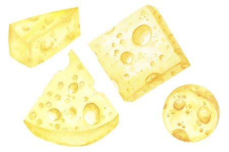 Watercolor drawing piece of triangular-shaped cheese yellow in color is mouse favorite food. Cheese Christmas tree set. Illustration on white background