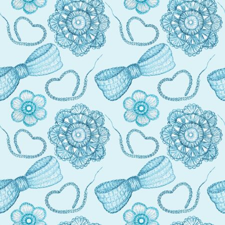 Seamless pattern Hobby Crochet heart, bow, flower. Collection of hand drawn light blue colors elements of Crocheting and knitting on blue background 写真素材 - 132090509