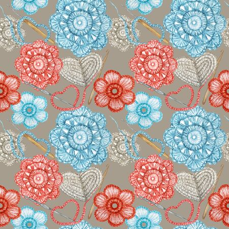 Seamless pattern Hobby Crochet heart, bow, flower, hook, buttons. Collection of hand drawn light blue, gray, red colors elements of Crocheting and knitting on gray background 写真素材 - 132090515