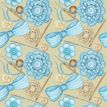 Seamless pattern Hobby Crochet heart, bow, flower, hook, buttons. Collection of hand drawn light blue, gray colors elements of Crocheting and knitting on gray background