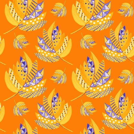 Beautiful bright orange and purple Autumn leaf Seamless pattern on a orange background.  autumn leafs hand drawn illustration. Paper, fabric texture. Greeting card Poster concept Archivio Fotografico - 132090513
