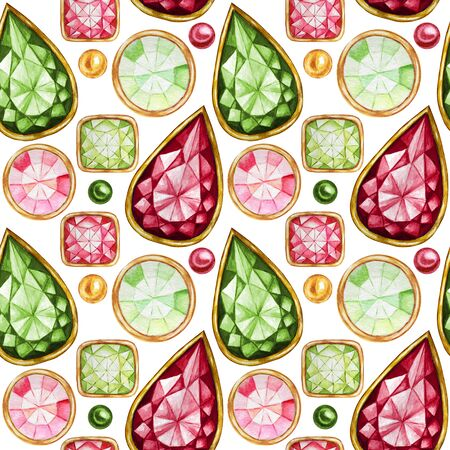 Seamless pattern Crystal in a gold frame and jewelry beads. Hand drawn watercolor green, red Gemstone diamond. Christmas and New Year Bright colors Fabric texture. White Background for scrapbooking