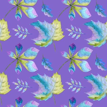Seamless pattern  Bright Autumn leaves. Green, blue and purple colors Hand Drawn Autumn leaf on a purple background. Greeting card Poster concept. Paper, fabric texture.