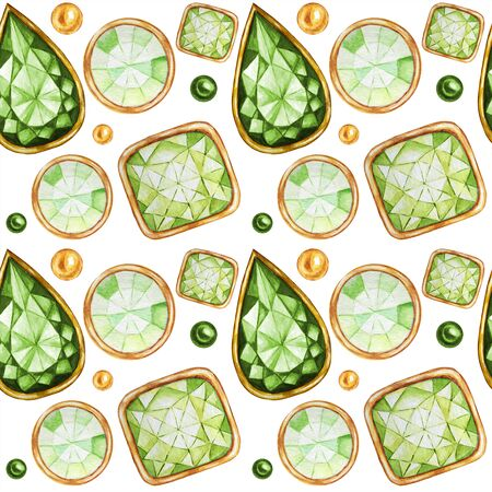 Seamless pattern Crystal in a gold frame and jewelry beads. Hand drawn  green Gemstone diamond. Christmas and New Year Bright colors Fabric texture. White Background for scrapbooking