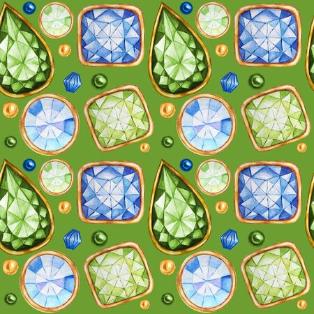 Seamless pattern Crystal in a gold frame and jewelry beads. Hand drawn  diamond. Bright colors Fabric texture. Green Background for scrapbooking Zdjęcie Seryjne