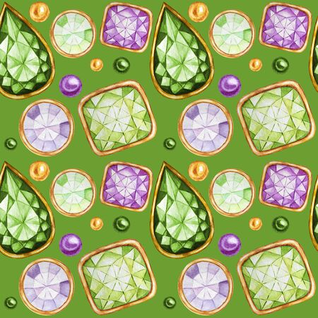 Seamless pattern Crystal in a gold frame and jewelry beads. Hand drawn  green, purple Gemstone diamond. Christmas and New Year Bright colors Fabric texture. Green Background for scrapbooking Zdjęcie Seryjne