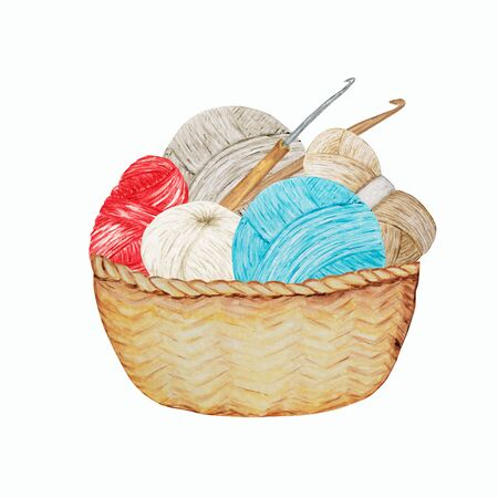 Blue red gray beige Crocheting Knitting Shop Logotype, Branding, Avatar composition of yarns balls, crochet hooks in wicker basket . Illustration for handmade or Crocheting with Ball of yarn icons.