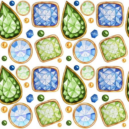 Seamless pattern Crystal in a gold frame and jewelry beads. Hand drawn  green, blue Gemstone diamond. Bright colors Fabric texture. White Background for scrapbooking Zdjęcie Seryjne