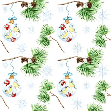 Seamless pattern of pine branches and cones, Christmas Glass Ball with red rowan Branches, winter birds Blue tit on white background,  hand drawn, illustration for fabric, paper, texture 写真素材