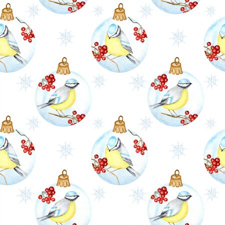 Seamless pattern with Christmas Glass Ball with red rowan Branches, winter birds couple Blue tit on white background,  hand drawn, illustration for fabric, texture, scrapbooking, paper