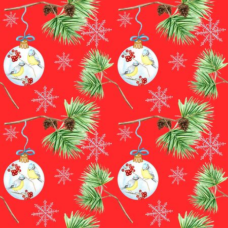 Seamless pattern of pine branches and cones, Christmas Glass Ball with red rowan Branches, winter birds Blue tit on red background,  hand drawn, illustration for fabric, paper, texture