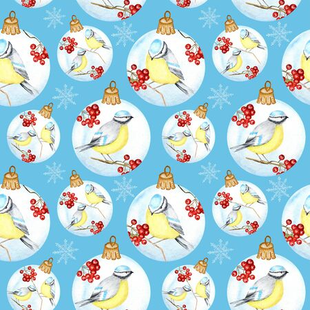 Seamless pattern with Christmas Glass Ball with red rowan Branches, winter birds couple Blue tit on blue background,  hand drawn, illustration for fabric, texture, scrapbooking, paper
