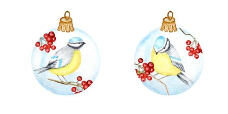 Watercolor Christmas Glass Ball set, Made of red rowan Branches, winter bird Blue tit. Greeting Card Design Template with Tomtit birds. New Year concept isolated on a white background. Vintage Style.
