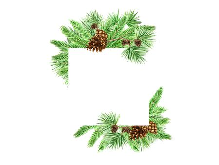 Christmas Greeting card, poster, banner concept of pine branches and cones on white background, New Year hand drawn watercolor illustration with copy space for text