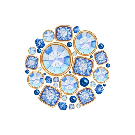 Watercolor Christmas ball from blue crystal with gold element on white background. Fashion brilliant, rhinestones. Greeting card, poster design with copy space concept. Beautiful bright jewelry shape