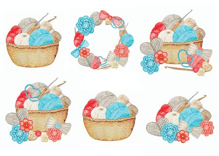 Crochet Frame, Shop Logotype set, Branding, Avatar composition of hooks, yarns, crocheted heart, bow, flowers. Blue red gray beige Knitting handmade Illustration with Ball of yarn icons