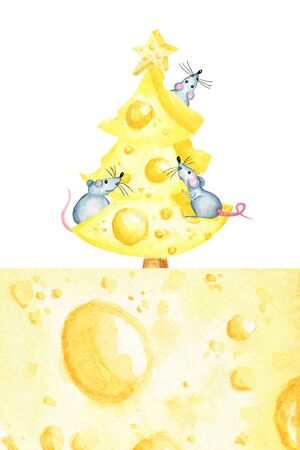Christmas cheese tree with rat. New year greeting card, poster concept 2020. Watercolor drawing piece of cheese yellow in color is mouse favorite food. Illustration symbol of Chineese new year