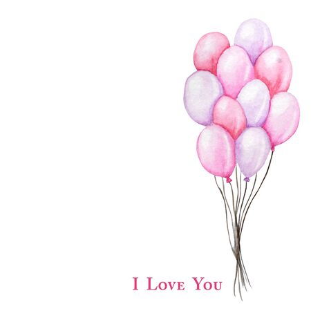 Happy Valentines Day. Watercolor hand drawn Holiday illustration of flying pink red balloons, isolated on white background. Festive party decoration love romantic element for Valentines Day, Wedding Standard-Bild - 133468572