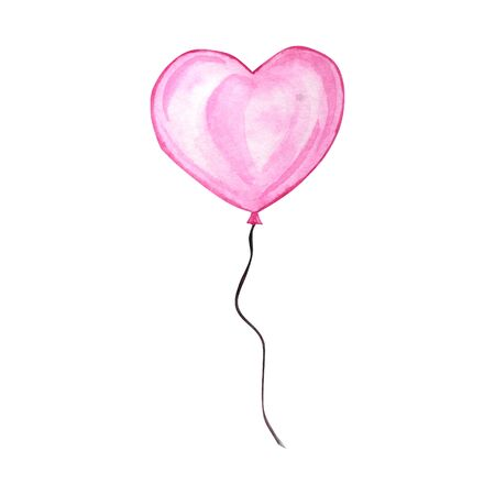 Happy Valentines Day. Watercolor hand drawn Holiday illustration of flying pink red balloon heart, isolated on white background. Festive decoration love romantic element for Valentines Day or Wedding Standard-Bild - 133468574