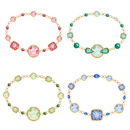 Red, green, blue square and round crystal gemstone with gold element. Beautiful jewelry bracelete set. Frame, card, poster concept. Watercolor drawing with crystals on golden chain on white background Zdjęcie Seryjne - 133468398