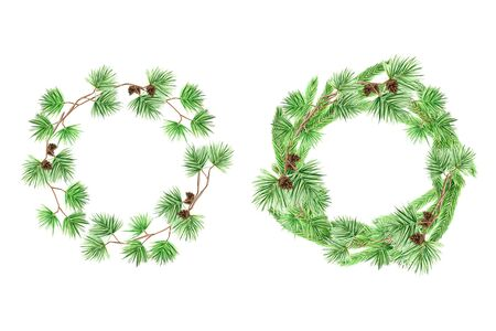 Christmas Greeting card set, poster, banner concept. Round Frame of pine branches and cones on white background, New Year hand drawn watercolor illustration with copy space for text