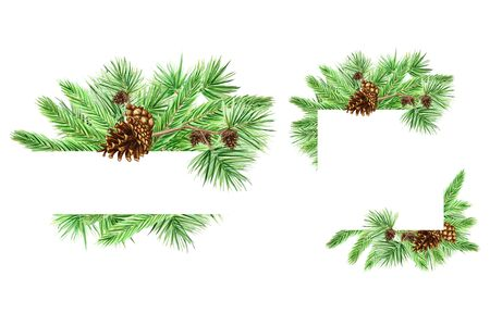 Christmas Greeting card set, poster, banner concept of pine branches and cones on white background, New Year hand drawn watercolor illustration with copy space for text