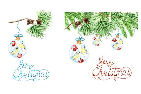 Set of Greeting card, poster, banner concept with letter Merry Christmas, pine branches and cones, Glass Ball with red rowan, winter birds Blue tit on white background, New Year hand drawn watercolor