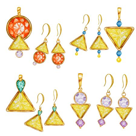 Beautiful hand drawn fashion jewelry set. Yellow, orange, purple, green triangle, round crystal gemstone beads with gold element. Watercolor drawing golden Pendant and earrings on white background.