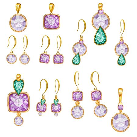 Beautiful jewelry set. Purple, Green crystal square, round gemstone beads with gold element. Watercolor drawing golden Pendant on chain and earrings hand drawn on white background. Zdjęcie Seryjne