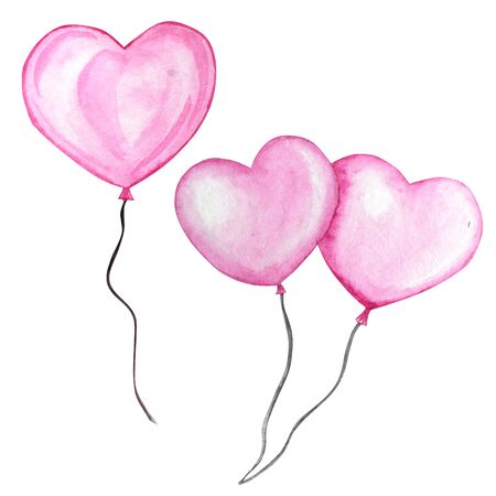Happy Valentines Day set. Watercolor hand drawn Holiday illustration of flying pink balloon heart, isolated on white background. Festive decoration love romantic element for Valentines Day or Wedding Standard-Bild - 133468417