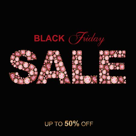 SALE inscription made of Red Crystal letters. Black Friday jewelry shop banner concept on black background. Watercolor Shiny glamour fashion gem font. Letter from diamonds and brilliant Zdjęcie Seryjne