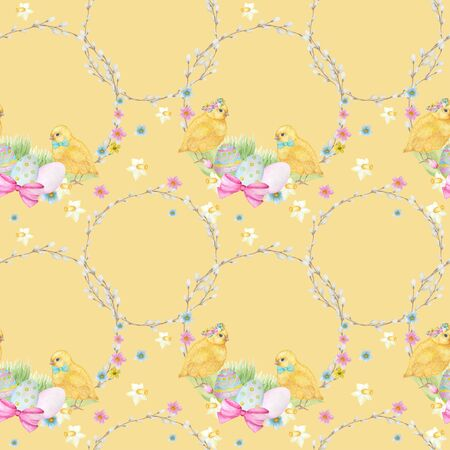 Easter Seamless pattern Watercolor hand drawn of yellow chiken, Spring flowers, willow, bow, egg. Colorful bird, chikens baby on yellow background. Design for invitation, poster, card, fabric, texture