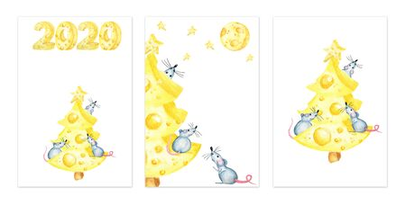 Christmas cheese tree with rat. New year greeting card set, poster concept 2020. Watercolor drawing piece of cheese yellow in color is mouse favorite food. Illustration on white background