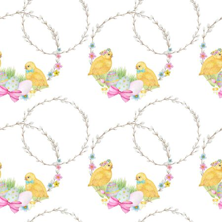 Easter Seamless pattern Watercolor hand drawn of yellow chiken, Spring flowers, willow, bow, egg. Colorful bird, chikens baby on white background. Design for invitation, poster, card, fabric, texture