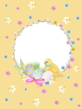 Watercolor Easter wreath on yellow background. Greeting cards design, banners, invitations, poster concept. Hand painted Round frame with pussy willow branch, spring flowers, colored eggs, copy space