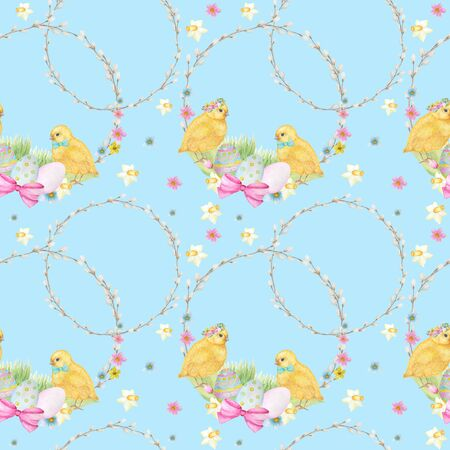 Easter Seamless pattern Watercolor hand drawn of yellow chiken, Spring flowers, willow, bow, egg. Colorful bird, chikens baby on blue background. Design for invitation, poster, card, fabric, texture Zdjęcie Seryjne