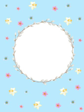 Watercolor Easter wreath on blue background. Greeting cards design, banners, invitations, poster concept. Hand painted Round frame with spring flowers, pussy willow branch, copy space