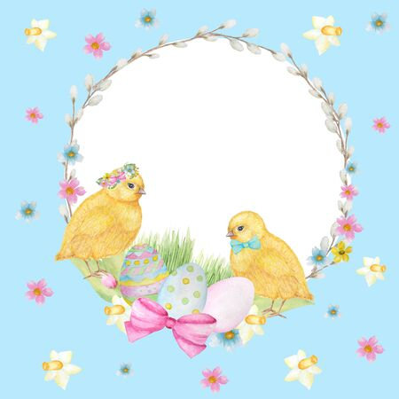 Watercolor Easter wreath on blue background. Greeting cards design, banners, invitations, poster concept. Hand painted Round frame with pussy willow branch, spring flowers, colored eggs, copy space