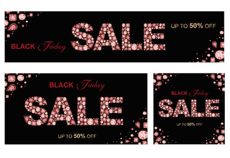 SALE inscription made of Red Crystal letters. Black Friday jewelry shop social media banner set concept on black background Watercolor Shiny glamour fashion gem font Letter from diamonds and brilliant Stock fotó