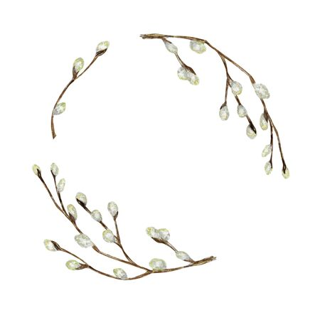 Watercolor pussy willow tree branch set. Spring wreath Hand drawn Frame, illustration. Isolated design element for invitations, greeting card, poster, print or label. Halloween border