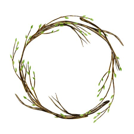 Watercolor Easter wreath. Spring tree branch with green leaves, pussy willow Hand drawn Frame, illustration. Isolated design element for invitations, greeting card, poster, print label concept. Border Stock fotó