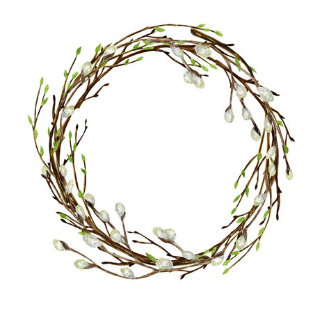 Watercolor Easter wreath. Spring tree branch with green leaves, pussy willow Hand drawn Frame, illustration. Isolated design element for invitations, greeting card, poster, print label concept. Border