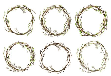 Watercolor Easter wreath set. Spring tree branch with green leaves, pussy willow Hand drawn Frame, illustration. Isolated design element for invitations, greeting card, poster, label concept. Border