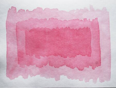Watercolor hand painted abstract pink red background. Subtle light pink color ink gradient on textured paper. Creative aquarelle painted magenta canvas for splash design, invitation, vintage template