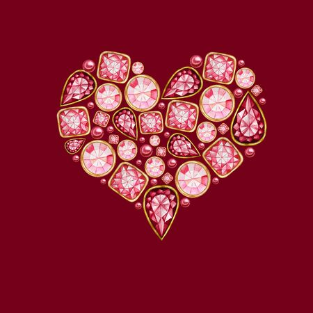 Watercolor Heart from red pink crystal with gold element isolated on red background. Fashion brilliant. Beautiful bright jewelry shape. Wedding Love or Valentines Day banner, poster, card concept