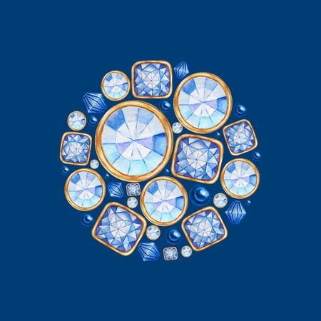 Watercolor Christmas ball from blue crystal with gold element on blue background. Fashion brilliant, rhinestones. Greeting card, poster design with copy space concept. Beautiful bright jewelry shape