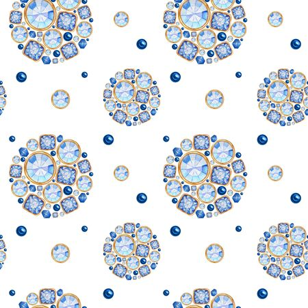 seamless pattern Watercolor Christmas ball from trend classic blue crystal with gold element on white background. Fashion trendy colors brilliant, rhinestones. Beautiful bright jewelry shape