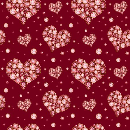 Seamless pattern Watercolor Heart from red pink crystal with gold element on red background. Fashion brilliant Beautiful jewelry. Wedding Love or Valentines Day banner, poster, card texture fabric
