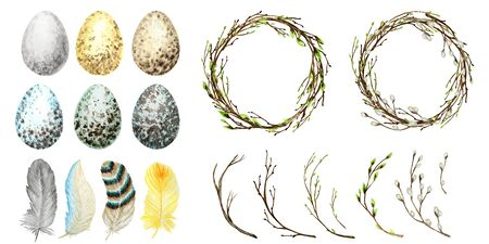 Watercolor Spring Easter wreath set. Hand drawn tree branch with feathers, eggs, leaves, willow Frame illustration. Border. Isolated design for invitations, greeting card, poster, print label concept.