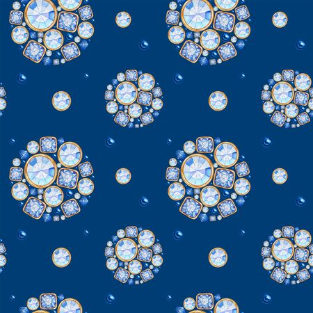 seamless pattern Watercolor Christmas ball from trend classic blue crystal with gold element on blue background. Fashion trendy colors brilliant, rhinestones. Beautiful bright jewelry fabric texture